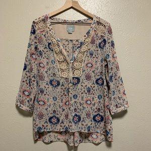 Anthropologie Maeve crochet neck 3/4 sleeve blouse